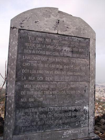 Núi Bài Thơ là nơi ghi lại nhiều dấn ấn lịch sử
